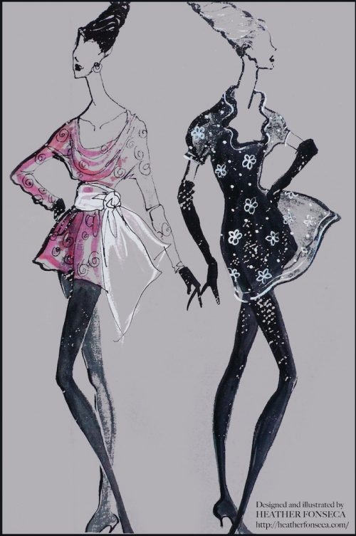 Fashion Illustration - Pink and Black dresses