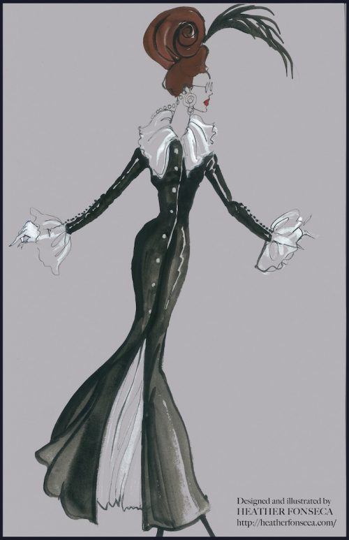 Fashion Illustration - Black and White Gown
