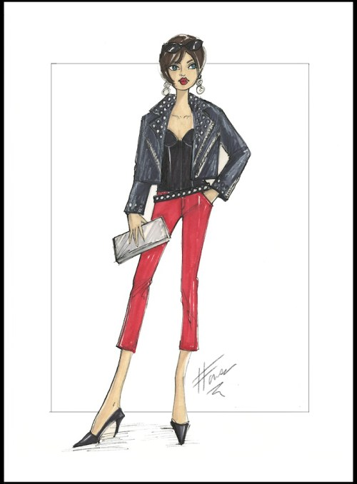 Fashion illustration of a black bustier worn with a moto jacket and red cropped trousers.