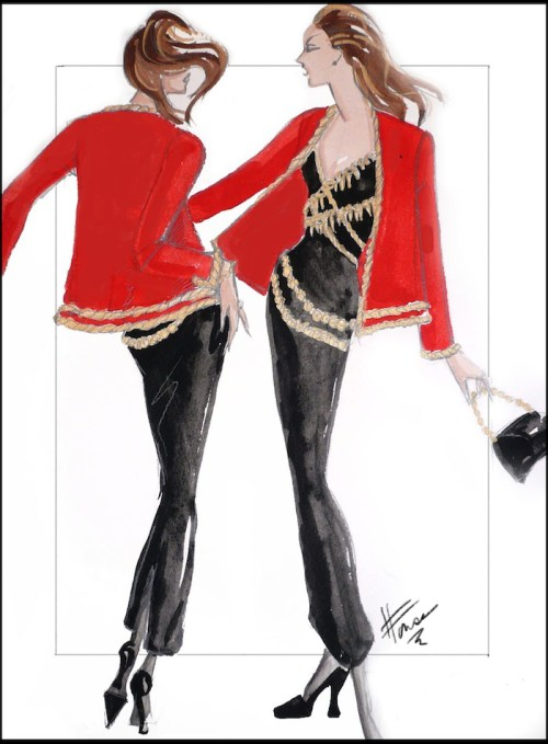 Fashion Illustrations from the 90's - a Red Jacket is worn over a slim black dress.
