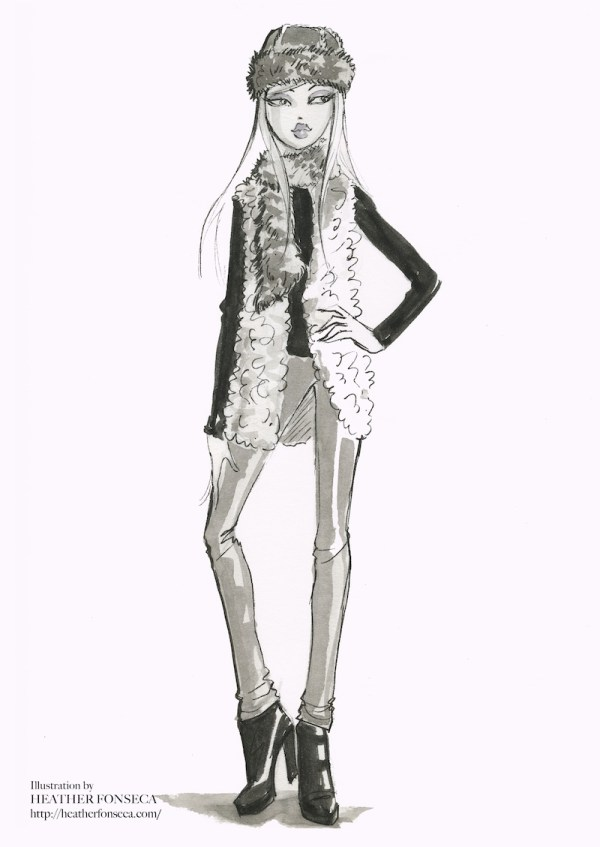 Black and white fashion illustration ofa furry Echapeau with furry vest