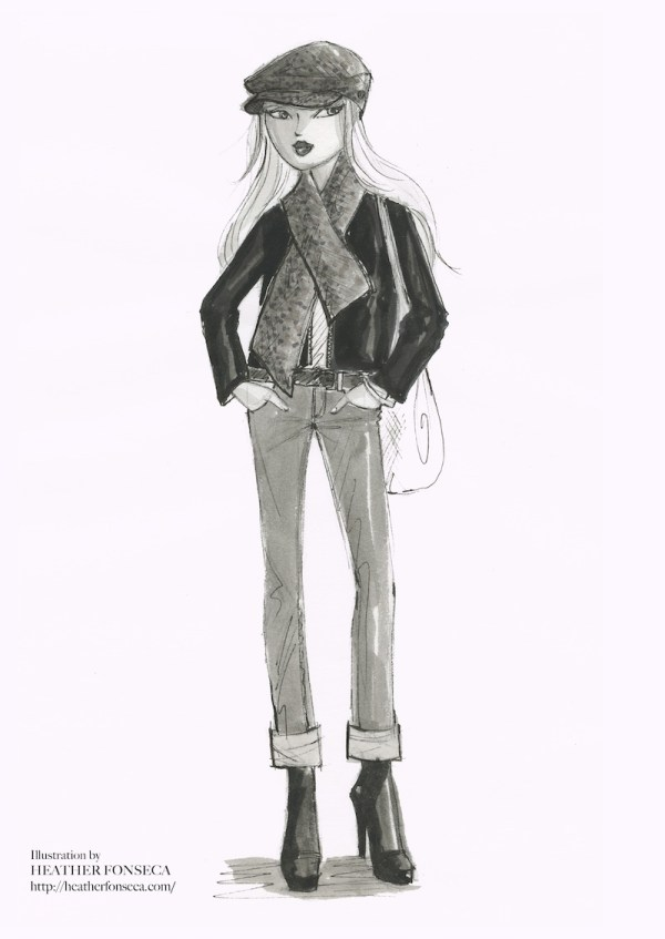 Black and white fashion illustration of jeans, jacket and echapeau
