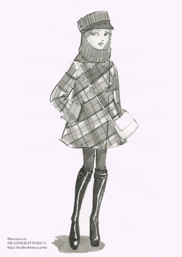 Black and white fashion illustration of an echapeau and a plaid Coat