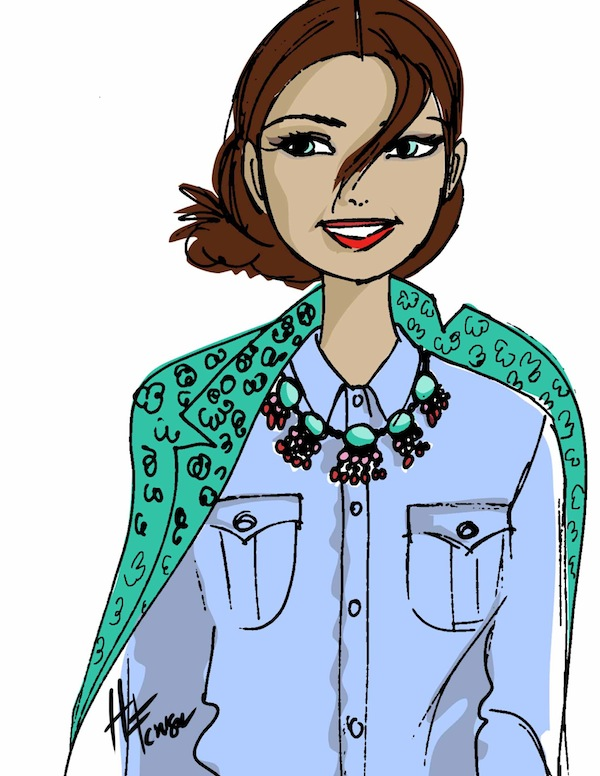 Girl in denim shirt