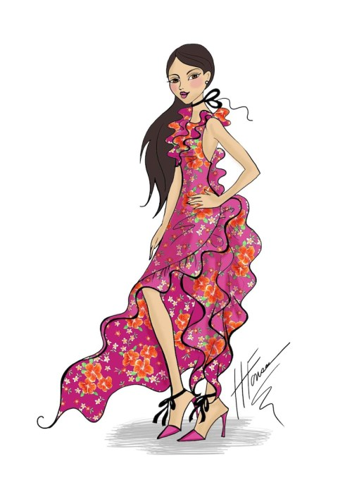 Frilly Pink Floral Fashion Illustration - Heather Fonseca