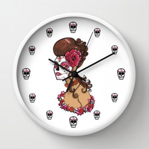 Glamorous Sugar Skull Girl Wall Clock