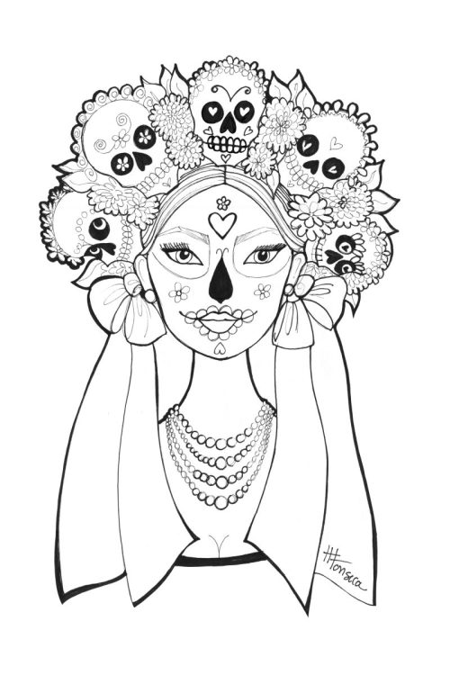 day of the dead coloring pages by heather fonseca - Day Of The Dead Coloring Pages
