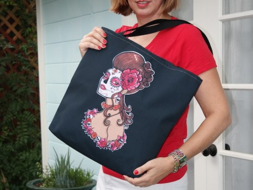 Dia de los Muertos sugar skull girl Tote Bags