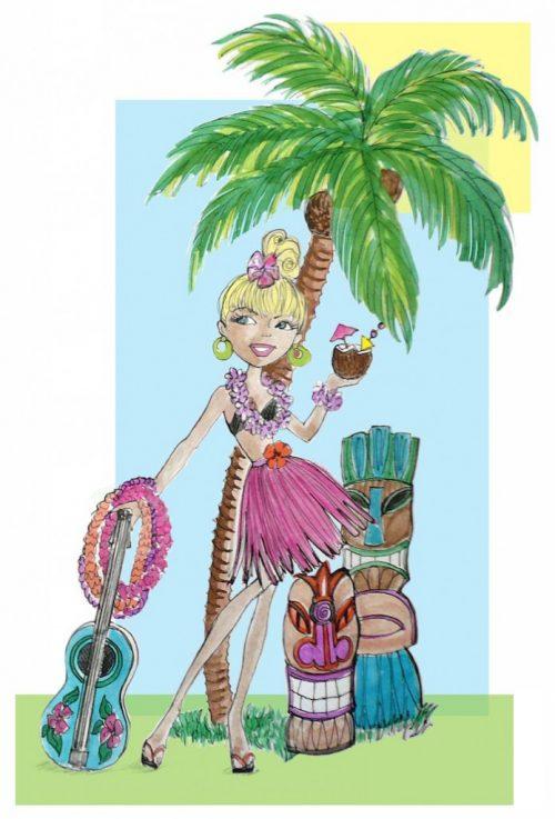 Tiki time hula doll illustration