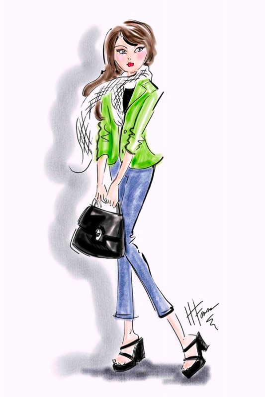 Green Jacket Fashion Illustration in Corel Painter by Heather Fonseca