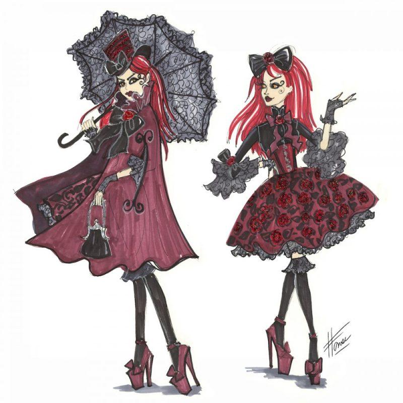 Burgundy Goth Doll Design by Heather Fonseca