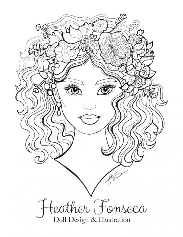 Girl with Flowers in her Hair Coloring Page by Heather Fonseca