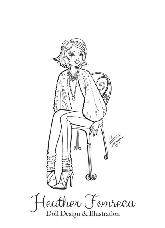 Sitting Pretty Coloring Page by Heather Fonseca