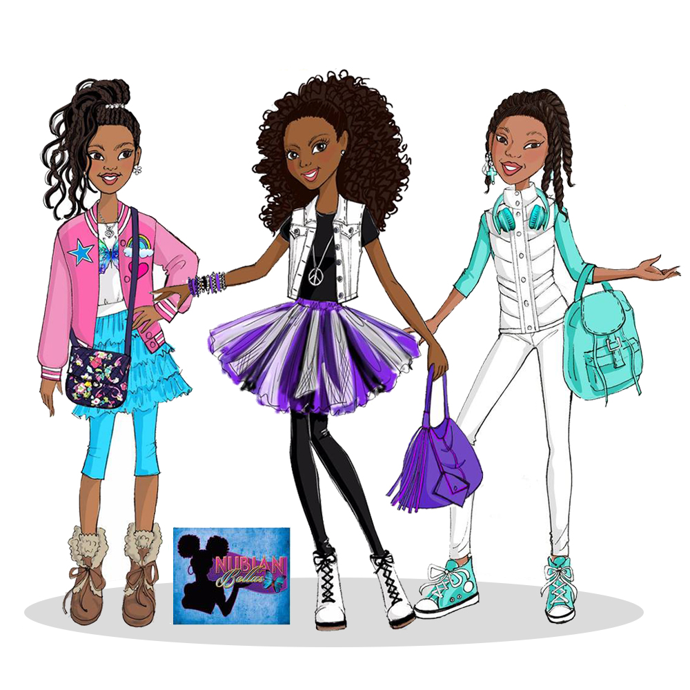 Nubian Bellas Doll Illustrations for Trinity Designs