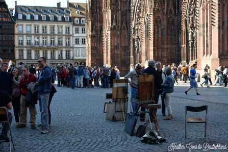 Artists in the square.
