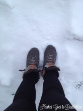 Borrowing BV's boots for a snow shot.
