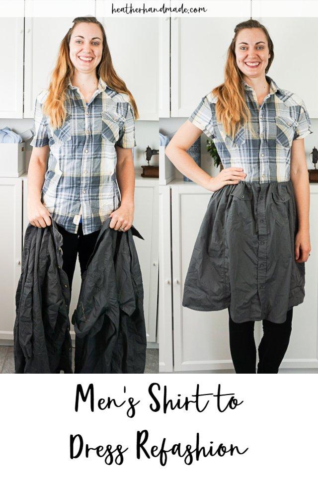 DIY Men's Shirt to Dress Refashion Tutorial