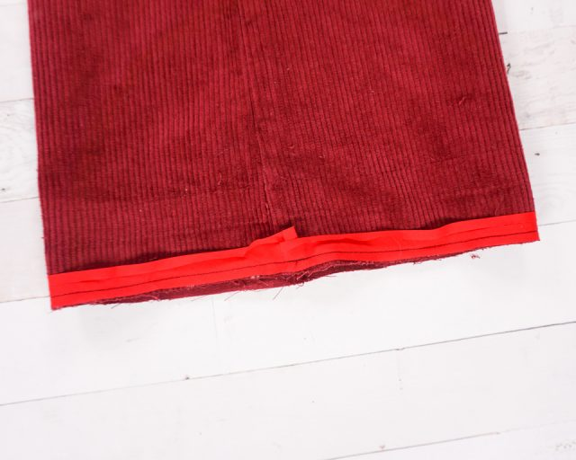 sew on fold closest to edge