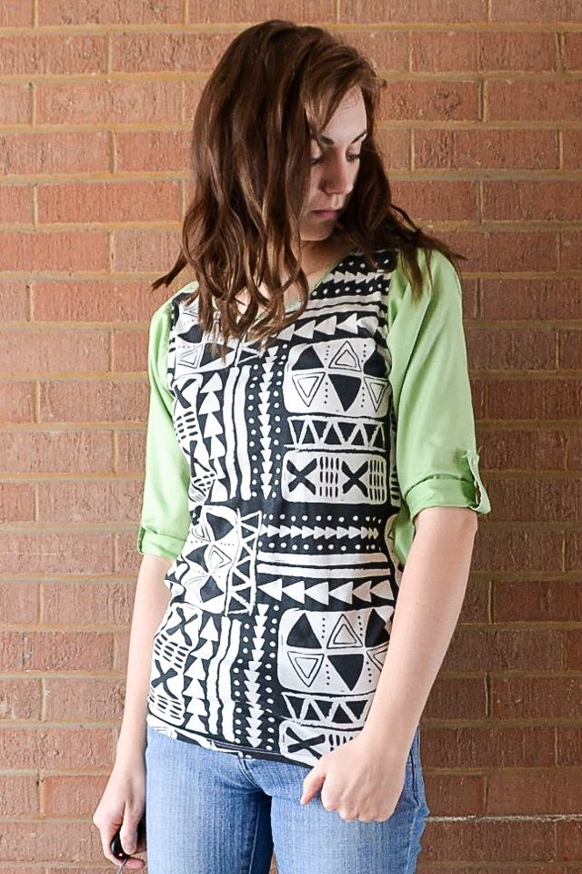 button up shirt + knit fabrci
