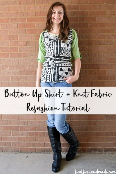 button up shirt + knit fabrci