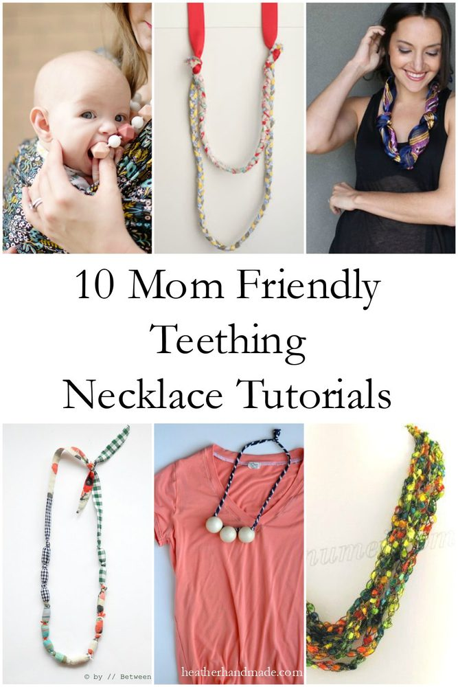 10 Mom Friendly Teething Necklace Tutorials // heatherhandmade.com