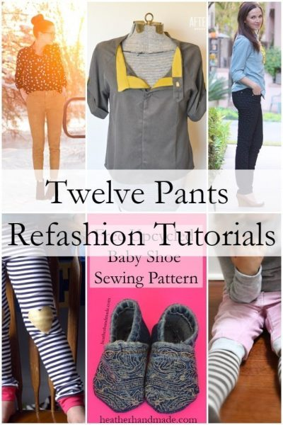 12 Pants Refashion Tutorials // heatherhandmade.com
