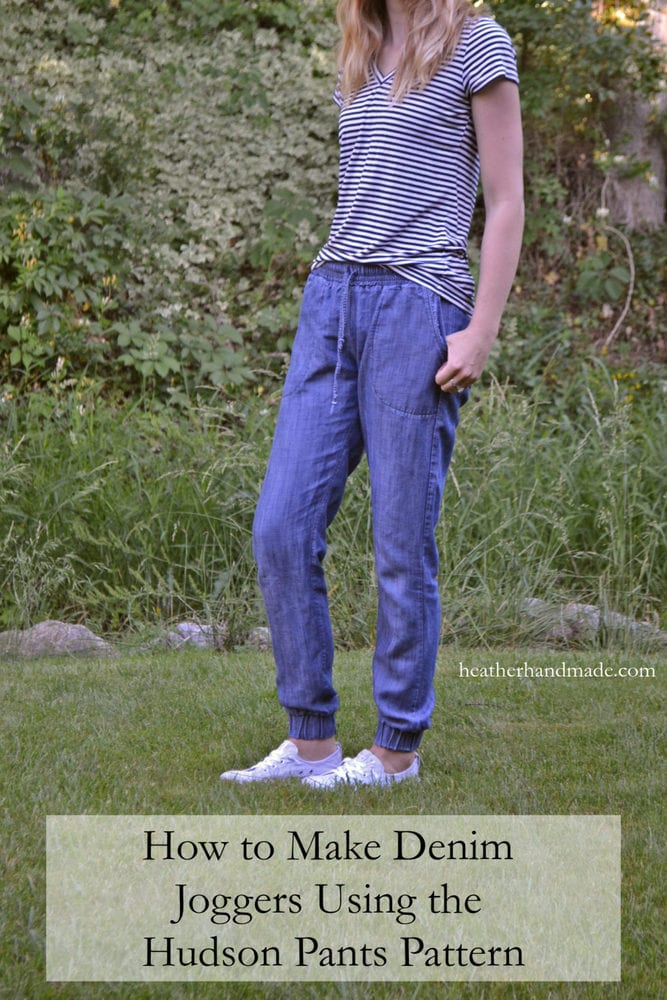 How to Make Denim Joggers Using the Hudson Pants Pattern // heatherhandmade.com