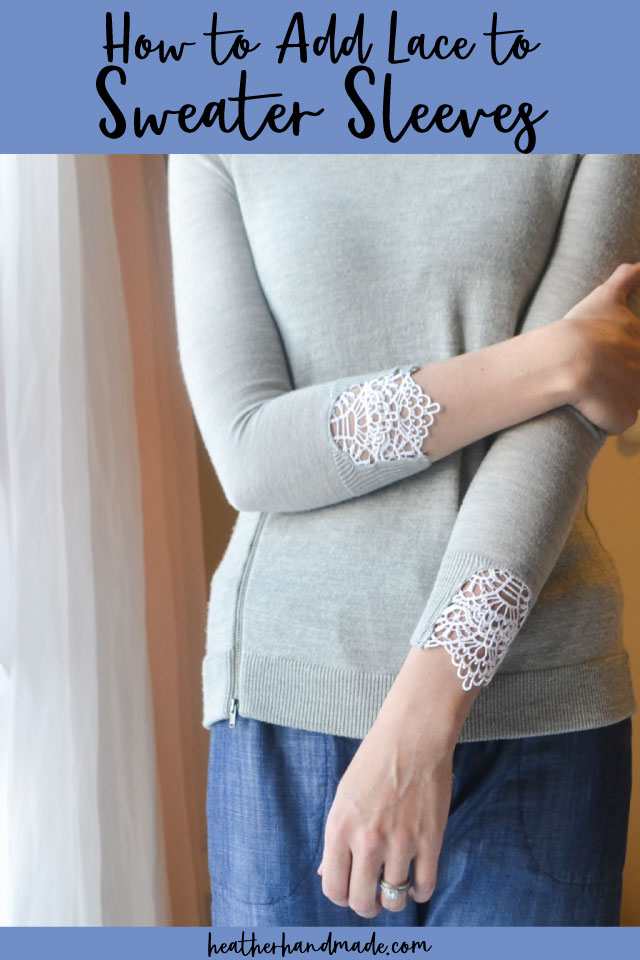 how to add lace to sweater sleeves