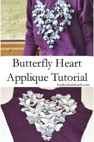 Butterfly Heart Applique Tutorial // heatherhandmade.com