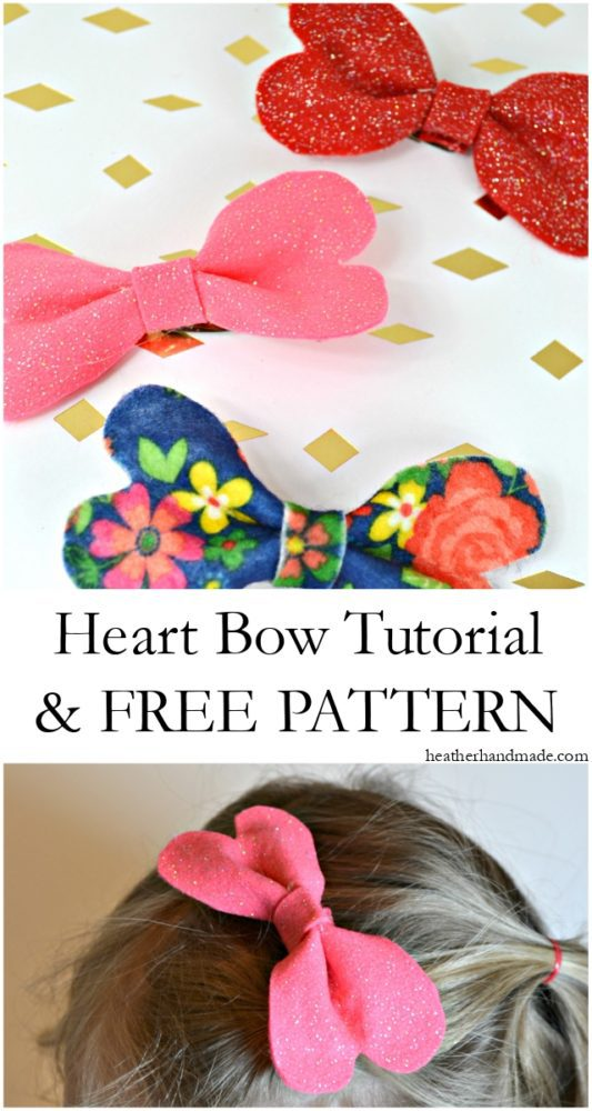 Heart Bow Tutorial and Free Pattern // heatherhandmade.com