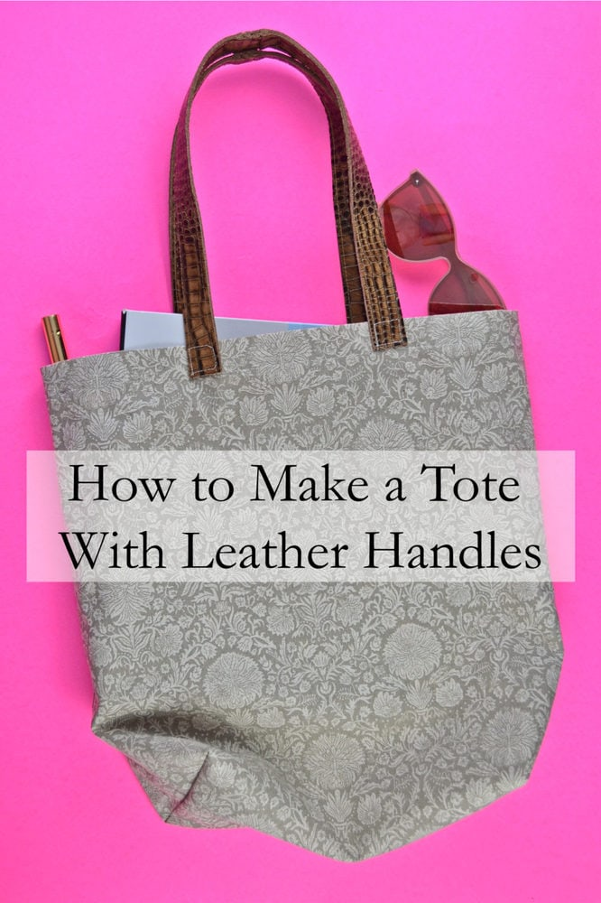 How to Make a Tote Bag with Leather Handles // heatherhandmade.com