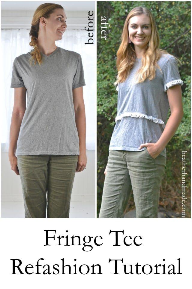 Fringe Tee Refashion Tutorial // heatherhandmade.com