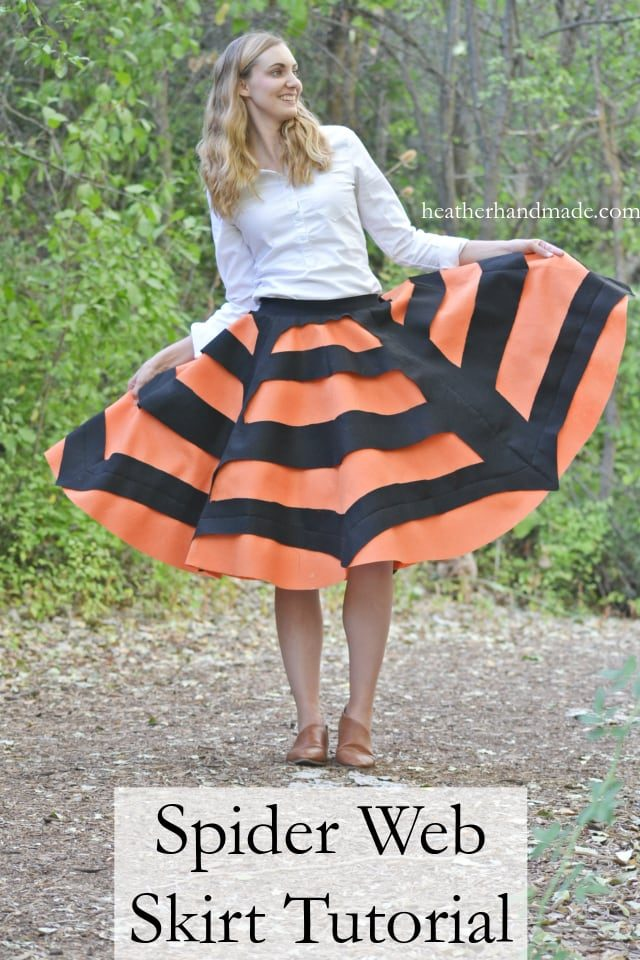 Spider Web Skirt Tutorial: Easy Halloween Skirt // heatherhandmade.com 13 Spooky Halloween Sewing Projects