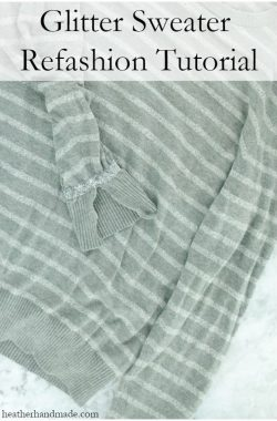 Glitter Sweater Sleeve Refashion // heatherhandmade.com