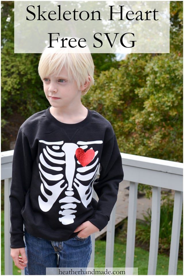 Skeleton Heart Free SVG File // heatherhandmade.com