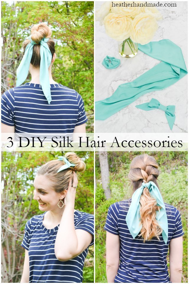 3 DIY Hair Accessories: Silk Scrunchie, Silk Scarf, and Silk Bow