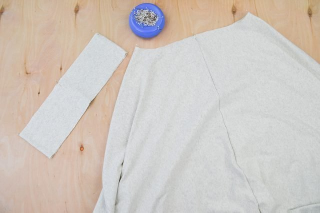 divide waistband and skirt into four