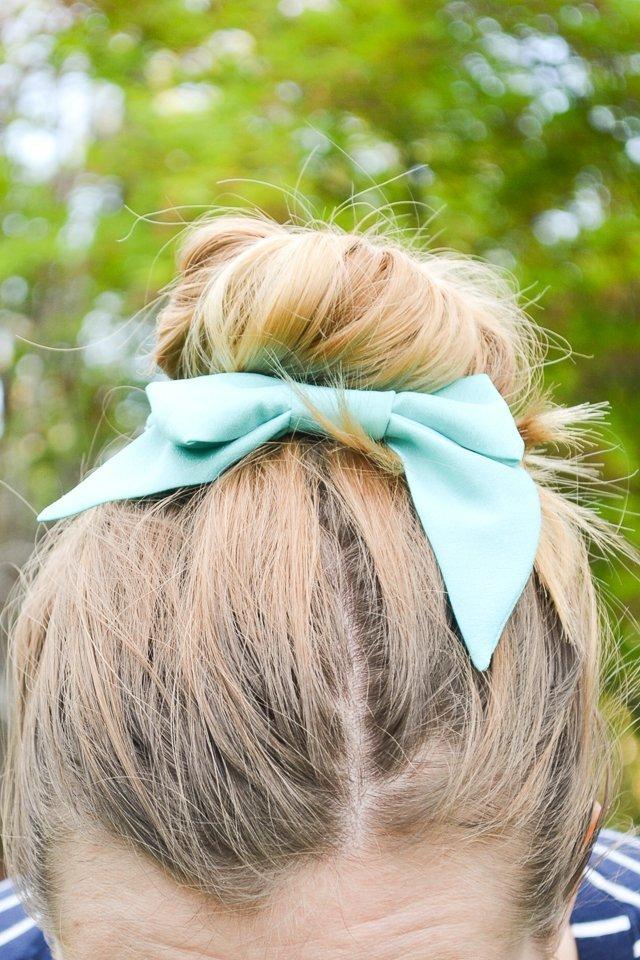silk bow hair bun