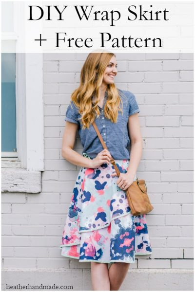 diy wrap skirt and free pattern