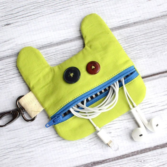 Little Monster Earbud Pouch - Free Sewing Pattern