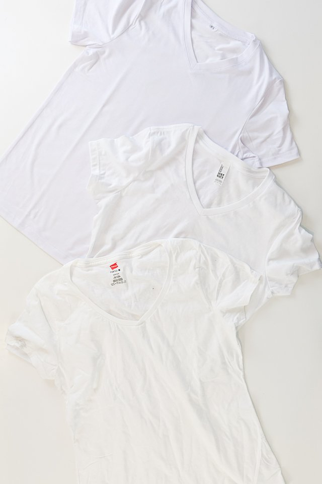 three blank t-shirts