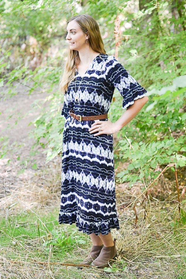 indigo rayon dress
