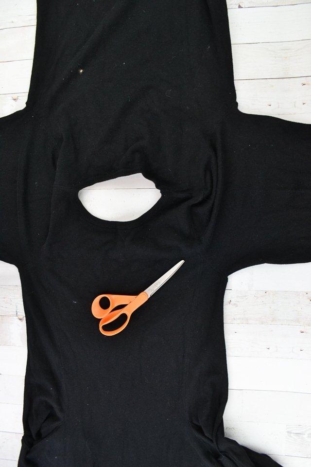 cut open sides of dress