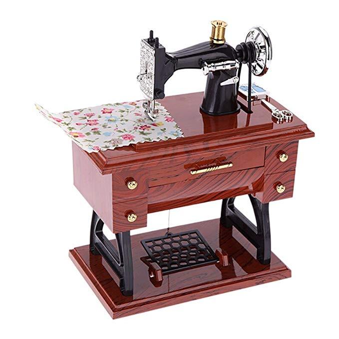 Sewing Machine Music Box with Drawer