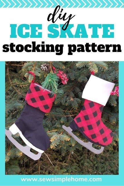 Free Ice Skate Christmas Stocking PDF Pattern + SVG Cut File