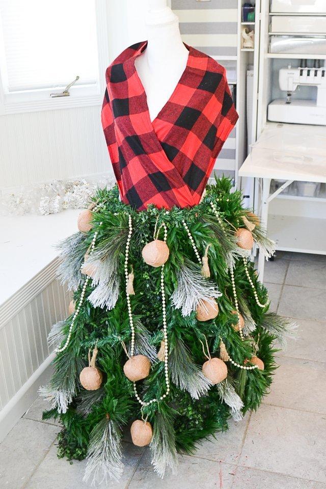 ornaments dress form christmas tree