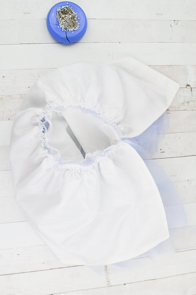 pin skirt to bodice opening in front