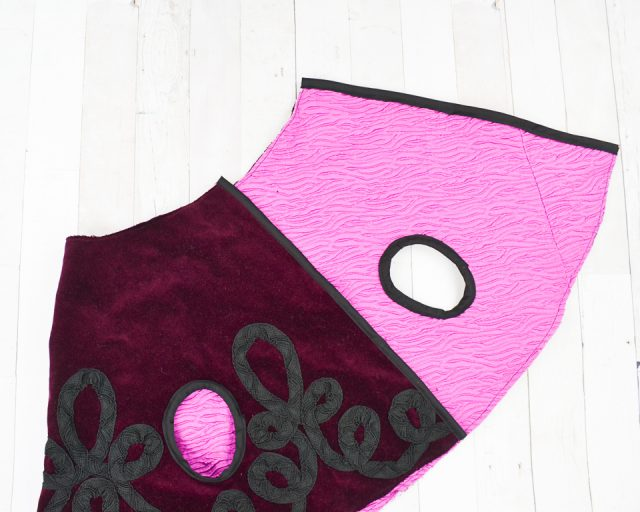 finish center front with bias tape