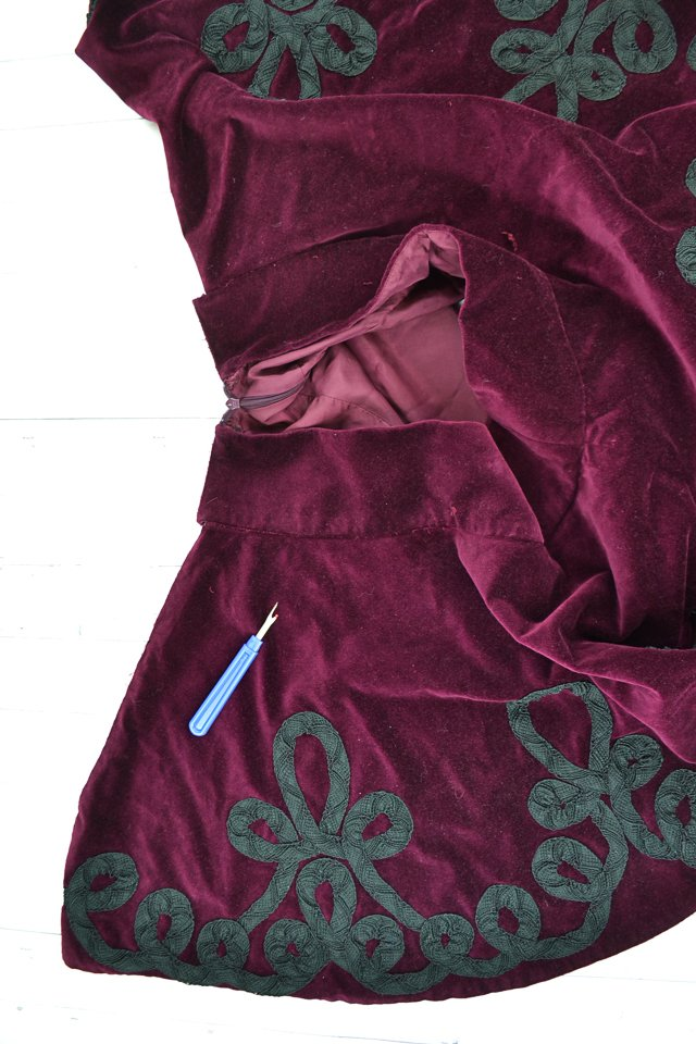 deconstruct purple skirt