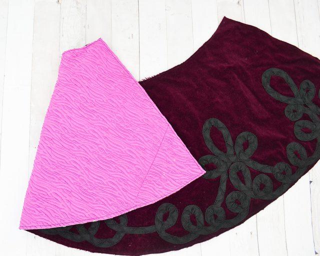 baste skirts wrong sides together
